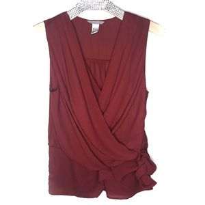 H&M Tops - Burgundy/red H&M wrap top size 6